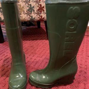 Sorel Joan rubber rain  wedge boots